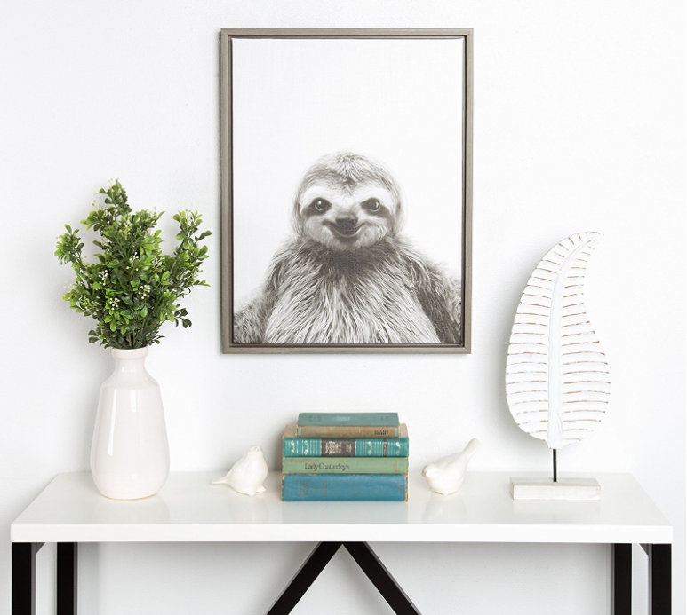 Framed Sloth Portrait. An fantastic sloth gift.