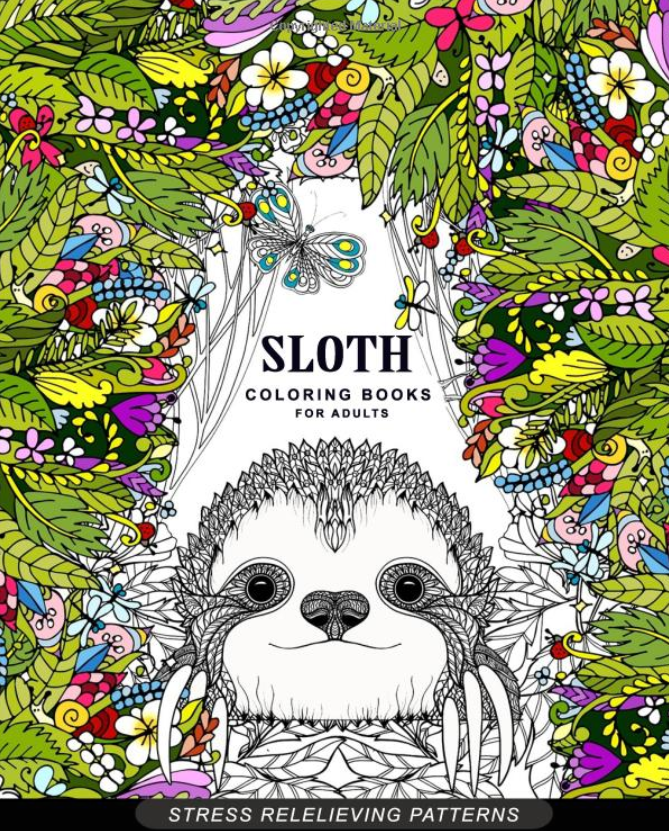 Sloth coloring book. Would make a great sloth gift for sloth loving women!