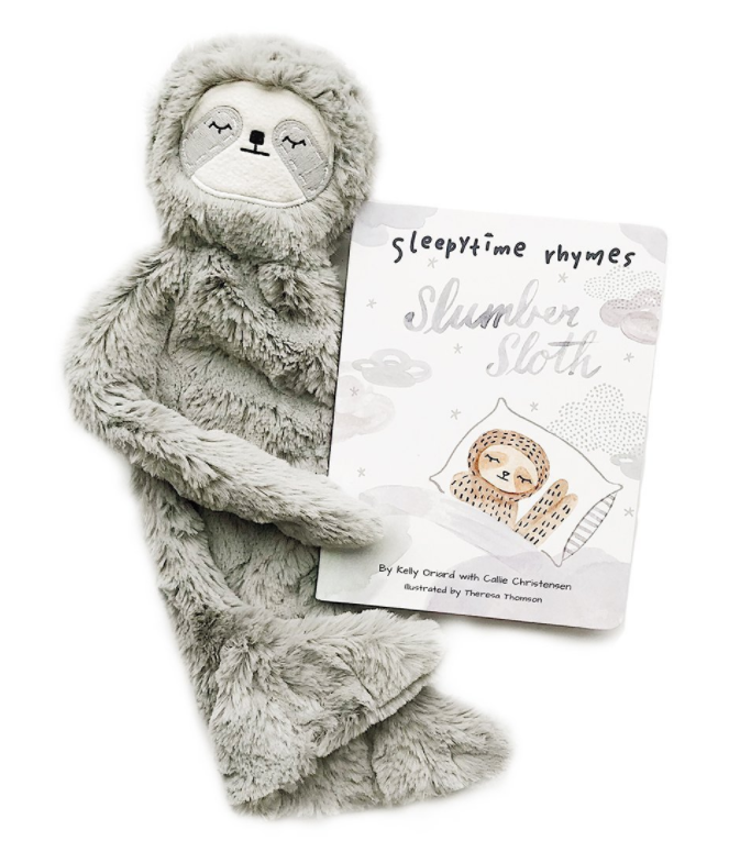 Slumber sloth and book. A perfect gift for the little sloth lover in your life.