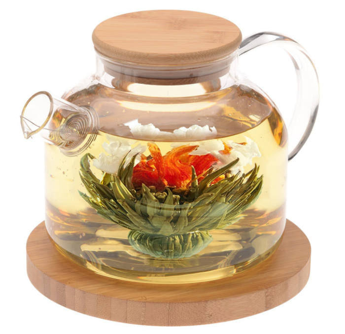 Glass tea pot with tea bag flower gift set.