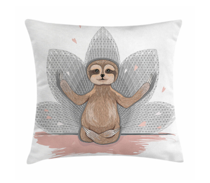 Decorative sloth throw pillow. Yoga sloth gift.