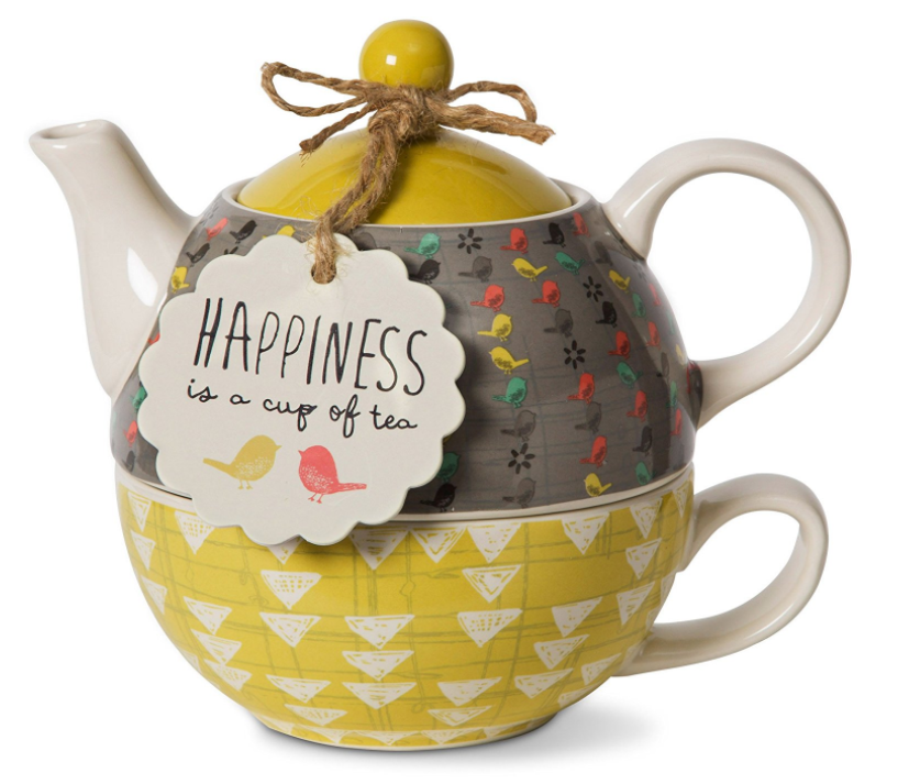 Bird tea pot and yellow tea mug gift set.